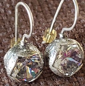 SILPADA Silver CZ Crown Jewel Earrings